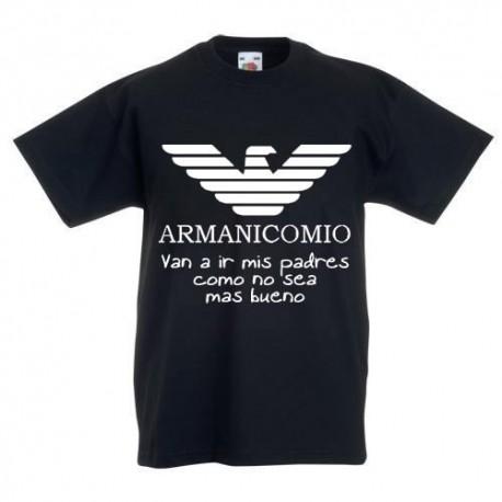 Armanicomio van a ir mis padres como no sea mas bueno - camisetas divertidas,graciosas y modernas para niños
