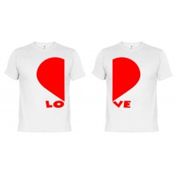 Camisetas dupla San Valentín Corazones (+ Taza Personalizada de Regalo)