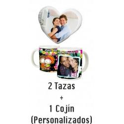 Pack SAN VALENTIN - 2 Tazas + Cojín de Corazón con relleno Personalizable (ENVIO GRATIS)