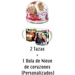 Pack SAN VALENTIN 2 tazas + Bola de nieve de corazones personalizable  (ENVIO GRATIS)