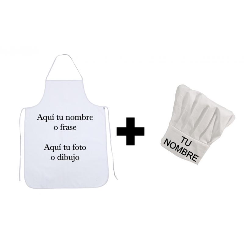 Gorro Cocinero + Delantal Personalizado (Pack)