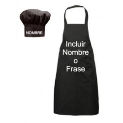 Delantales Personalizados - Negro Semi-largo + Gorro de Cocinero