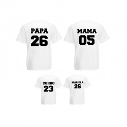 Camisetas Personalizadas - Familiar con nombre y fecha de nacimiento
