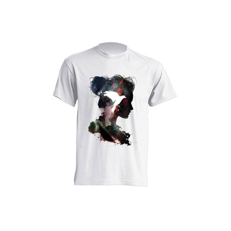 Camisetas de sublimación - Sombra de mujer con paloma