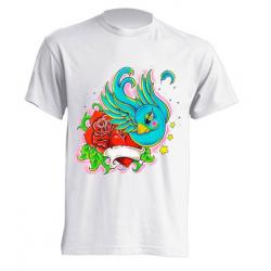 Camiseta de sublimación - Pájaro con flor