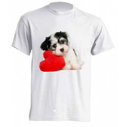 Camisetas de sublimación - Perrito en corazón rojo
