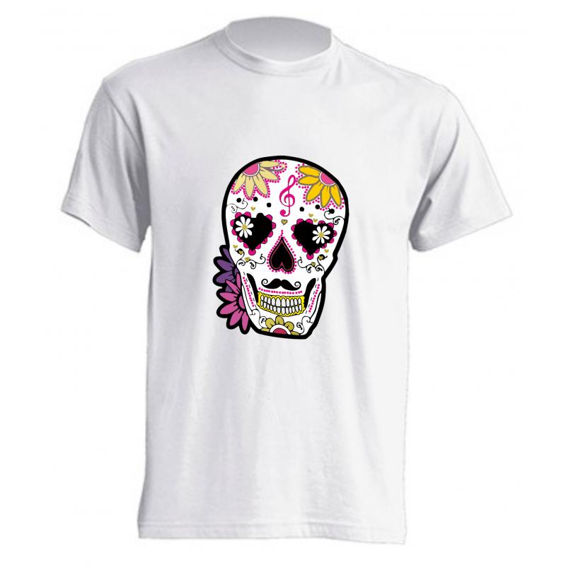 Camiseta Calavera Con Flores