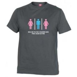 Camiseta Me faltan 2 Mujeres para Trio